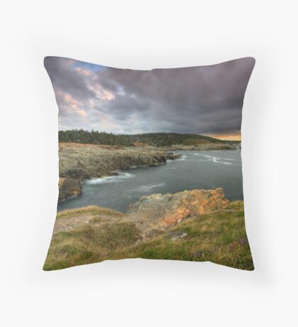 Clouds over Louisbourg Lighthouse Throw Pillow