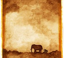 Mother and baby elephant by susanPerez