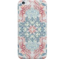 Vintage Fancy - a Pattern in Pale Blue, Navy & Deep Rose iPhone Case/Skin