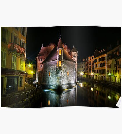 Annecy - Palais de l'Isle at night Poster