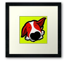 Big Nose Bull Terrier Red Framed Print