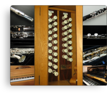 Keyboard and Woodwind Music Collage Canvas Print