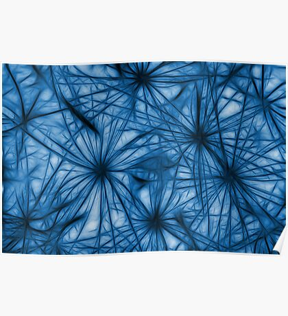 Dandelion Blues Abstract Poster