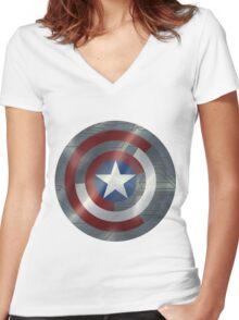 Steve & Bucky Unshielded Turned Shield  Women's Fitted V-Neck T-Shirt