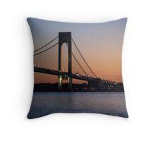 dawn by the verrazano narrows bridge Throw Pillow