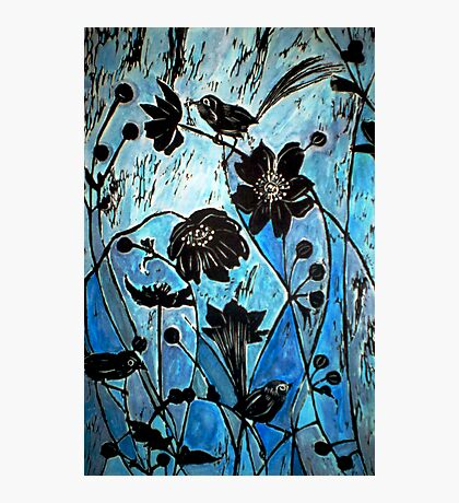 Blue Japanase Woodcut Photographic Print