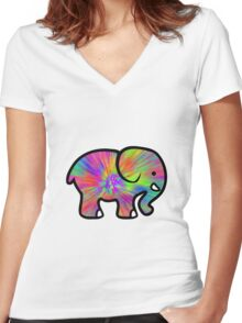 Trippy Elephant Women's Fitted V-Neck T-Shirt