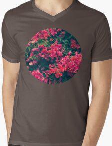 Pink Floral Mens V-Neck T-Shirt
