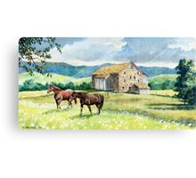 Horse and Barn Landscape Canvas Print