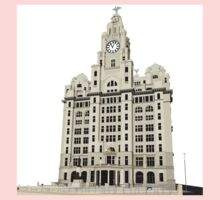 Royal Liver Building - inked on white One Piece - Long Sleeve