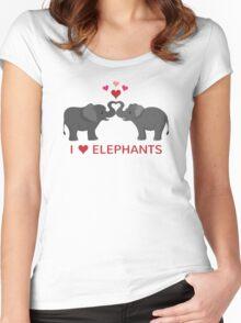 Love Elephants - Heart Trunks Women's Fitted Scoop T-Shirt