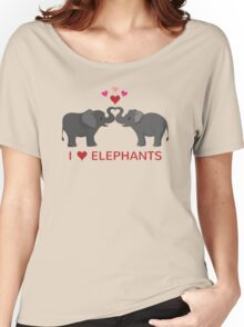 Love Elephants - Heart Trunks Women's Relaxed Fit T-Shirt