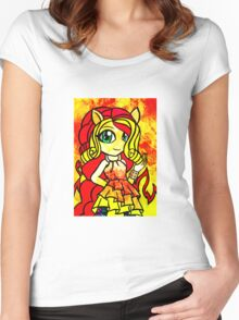 Rainbow Rocks - Sunset Shimmers On Women's Fitted Scoop T-Shirt
