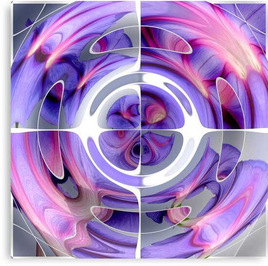 Abstract Morning Glory Fish Eye Collage by taiche