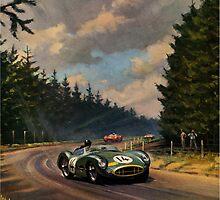 Aston Martin DBR1 - Vintage Racing Car Advertising Print - reproduction by verypeculiar