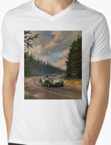 Aston Martin DBR1 - Vintage Racing Car Advertising Print - reproduction Mens V-Neck T-Shirt