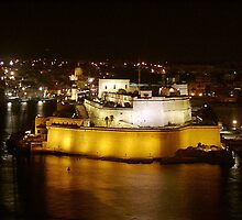 Fort St. Angelo at night by M G  Pettett