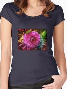 Hot pink silky rose flower Women's Fitted Scoop T-Shirt