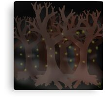 Fireflies in the woods Canvas Print
