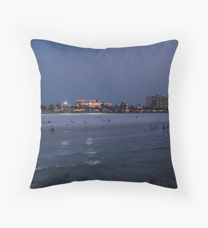 Clearwater Beach at Night Throw Pillow