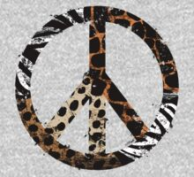 African Animal Pattern Peace Symbol One Piece - Short Sleeve