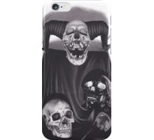 Realism Charcoal Drawing of Devil Skull, Black Skull, and Human Skull iPhone Case/Skin