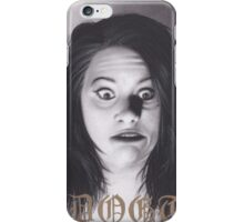 Realism Charcoal Drawing of Funny Faced Girl with Horns iPhone Case/Skin