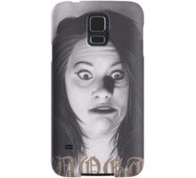 Realism Charcoal Drawing of Funny Faced Girl with Horns Samsung Galaxy Case/Skin