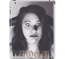 Realism Charcoal Drawing of Funny Faced Girl with Horns iPad Case/Skin