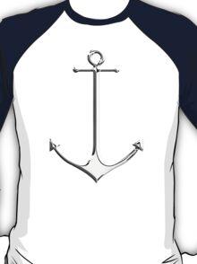 Chrome Style Nautical Thin Anchor Applique T-Shirt