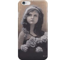 Realism Charcoal Drawing of Little Girl with Flowers iPhone Case/Skin