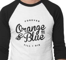 Orange & Blue Forever - Black on White Men's Baseball ¾ T-Shirt