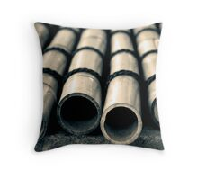 Bamboo with Water Drops Throw Pillow