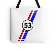 VW 53, Herbie the Love Bug's racing stripes and number 53 Tote Bag