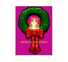 MERRY CHRISTMAS GUINEA PIG / HAMSTER Art Print