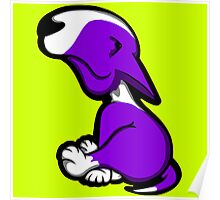 Innocent English Bull Terrier Puppy Purple  Poster