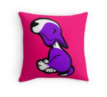 Innocent English Bull Terrier Puppy Purple  Throw Pillow