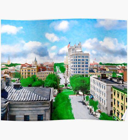 Historic Savannah - Vintage View Over Johnson Square Poster