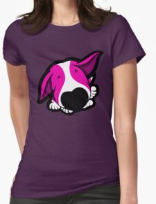 Big Nose Bull Terrier Shocking Pink Womens Fitted T-Shirt