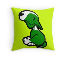 Innocent English Bull Terrier Puppy Green  Throw Pillow