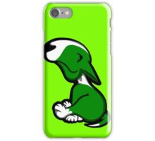 Innocent English Bull Terrier Puppy Green  iPhone Case/Skin