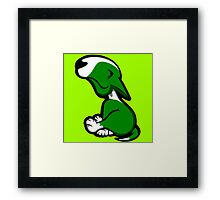 Innocent English Bull Terrier Puppy Green  Framed Print