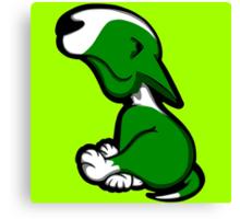 Innocent English Bull Terrier Puppy Green  Canvas Print