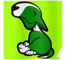 Innocent English Bull Terrier Puppy Green  Poster