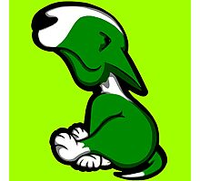 Innocent English Bull Terrier Puppy Green  Photographic Print