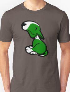 Innocent English Bull Terrier Puppy Green  Unisex T-Shirt