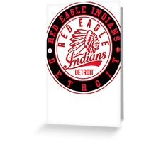 Red Eagle Indians Detroit Ice Hockey Logo Greeting Card