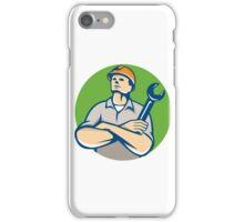 Builder Arms Crossed Wrench Circle Retro iPhone Case/Skin