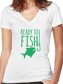 READY TO FISH in green with fishy and hook Women's Fitted V-Neck T-Shirt