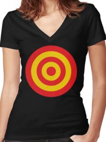 Yellow and RED target Women's Fitted V-Neck T-Shirt
